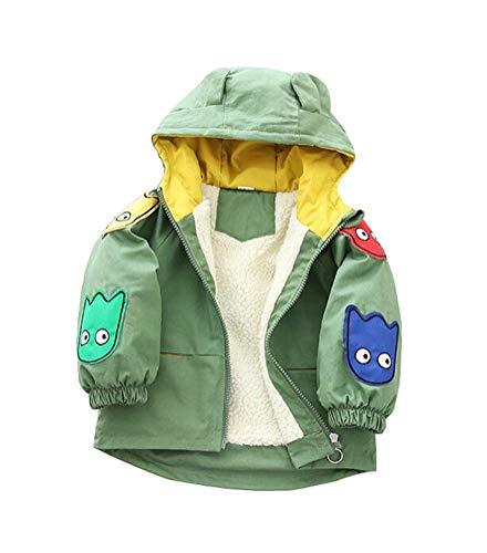 Nemopter Kindermantel, Jungen, Baby, Kapuzenjacke für Kapuzen-Sweatshirt, Dinosaurier, Cartoon-Daunenjacke aus Samt, für Jungen Gr. 18-24 Monate, grün