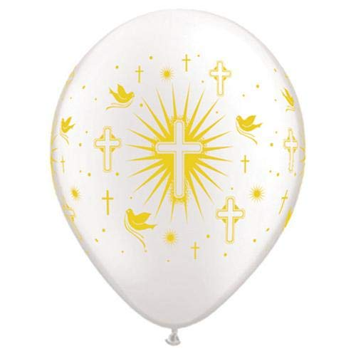 LOONBALLOON Religious Balloons, 11″ Cross & Doves WRAP - Pearl White W/Gold Ink