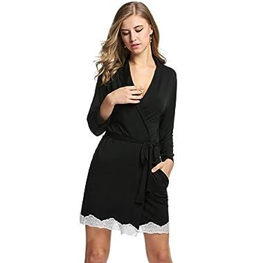 Avidlove Womens Bathrobe Soft Kimono Cotton Knit Robe Lace Trim Sleepwear