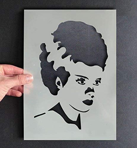 Bride Of Frankenstein Stencil Halloween Craft Art Decorating Paint Walls Fabrics