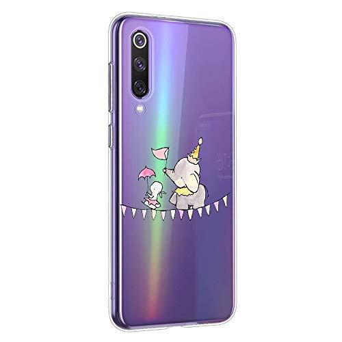 Oihxse Animal Serie Case Compatible con Huawei Honor 20S/PLAY3 Funda Transparente Suave Silicona Elefante Conejo Patrón Protector Carcasa Ultra-Delgado Creativa Anti-Choque Cover (A15)
