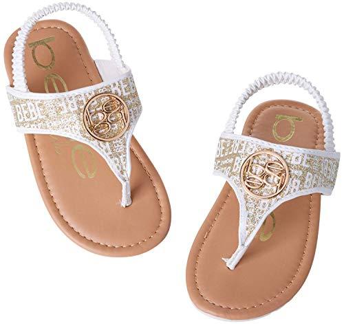 bebe Baby Girls' Sandals - Glitter Medallion Sandals with Elastic Heel Strap (Toddler), Size 7 Toddler, White