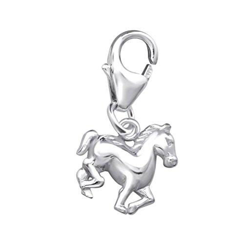 Sterling Silber Horse Equestrian Style Verschluss Charme für Halskette oder Armbänder