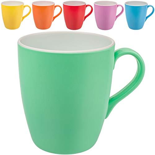 alles-meine.de GmbH 6 Stück _ Henkeltassen / Kaffeetassen / Henkelbecher - bunter Farb-Mix - groß - 400 ml / 0,4 Liter - Kunststoff / Plastik - Melamin - mehrweg - Teetassen - Ka..
