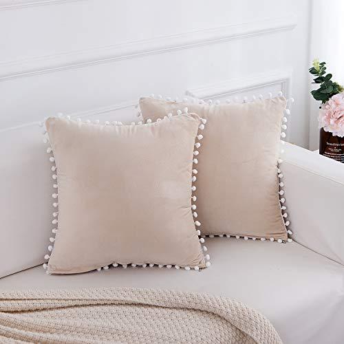 FabThing Kissenbezug Samt Kissenhülle Dekorative Lendenkissen Sofakissen Dekokissen Einfarbig mit Pom Poms für Sofa Schlafzimmer 2er-Set,45x45cm Weiße Creme