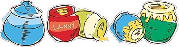 3 PC Honey Pots Honeypot Pot Winnie The Pooh Disney Removable Peel Self Stick Adhesive Vinyl Decorative Wall Decal Sticker Art Kids Room Home Decor Girl Boy Children Bedroom Nursery Baby 4 5 X3 Inch