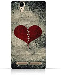 Sony Xperia T2 Ultra TPU Silicone Case with Broken Heart Grunge Style Pattern Design