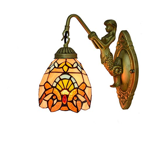 L-YINGZON British Modren Stained Glass Sala Comedor Dormitorio Clubhouse Bar pasillo barroco lámpara de pared de la decoración de la pared de luz de la lámpara de Tiffany Lámpara de interior decorativ