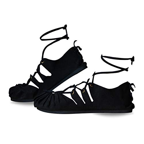 INDIAN STORE 24 Sandalen Damen Bollywood Leder Strand Urlaub Freizeit Outdoor Indoor Hippie Ethnic Party Römer Herbst Yoga Sandaletten Frühling Sommer, Black, 41 EU