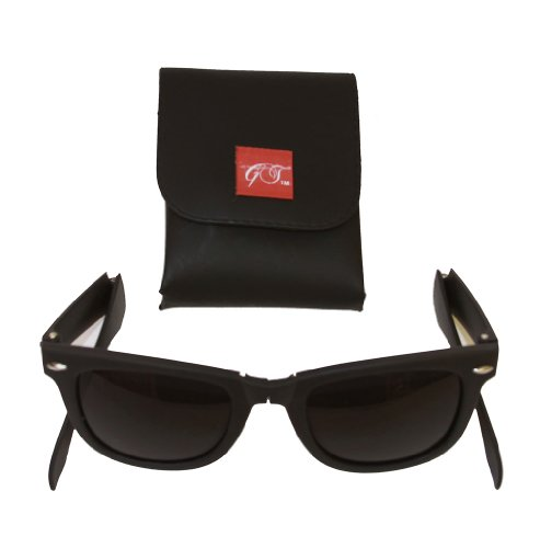 Gravity Shades Foldable Matte Black Sunglasses + GT Case