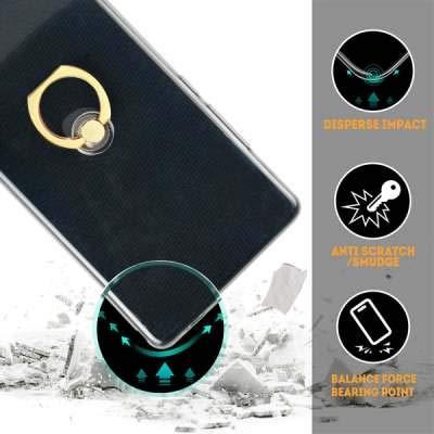 Misstars Flauschige Ball Hülle für Huawei P Smart Plus/Nova 3i, Ultra Dünn Transparent Weiche TPU Silikon + Glitzer Silber Papier Hybrid 2 in 1 Design Bling Schutzhülle mit Ring Ständer - 6