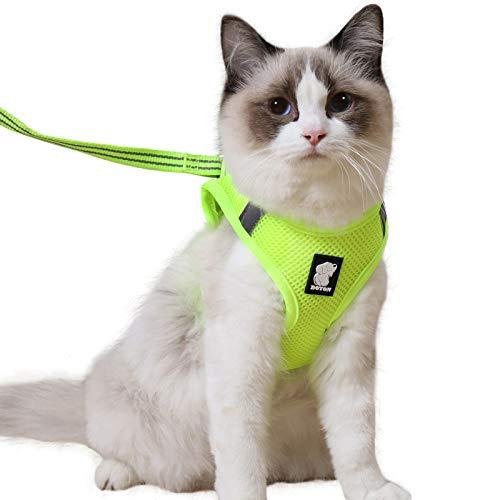 Katzengeschirr und Leine Set für Spaziergang 360° Wrap-Around kleine Katze und Hunde Geschirr Pufferwirkung und Fluchtwiderstand
