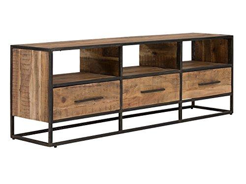 massivum Lowboard Oklahoma 175x60x40 cm aus Akazie Massiv-Holz natur lackiert und Gestell Metall schwarz  mit 3 Schubladen TV-Bank