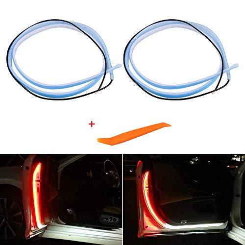 LECART Car Interior Strip Lights Car Door Flashing Warning Light Dual Color Auto Door Opening Warning Lamp Strobe Warning Streamer Light Bar Anti-Collision Flash Warning Strip Light Red and White 2Pcs