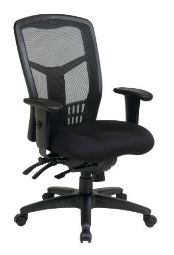 Office Star High Back ProGrid Back FreeFlex Seat with Adjustable Arms and Multi-Function and Seat Slider, Black Managers Chair
