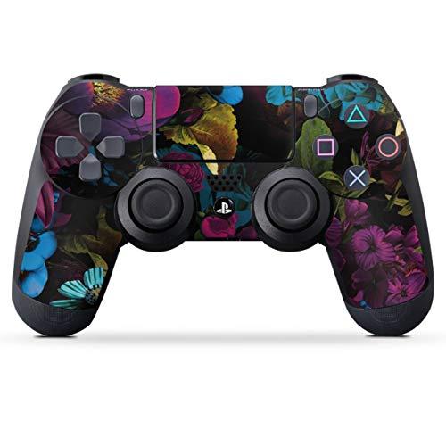 DeinDesign Skin kompatibel mit Sony Playstation 4 PS4 Controller Folie Sticker Lichteffekte Blume schwarz