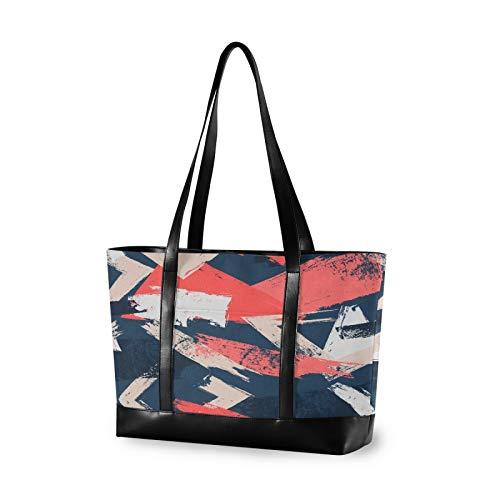 Abstract Brush Strokes Colorful Women Canvas Handbags Shoulder Tote Bag Top Handle Satchel Large Capacity Bags Laptop bag Tablet bag(14.6×5.1×11.8 in)