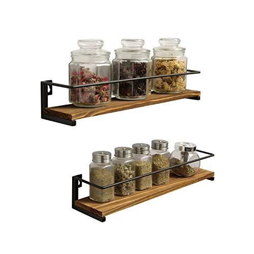OROPY Portaspezie in Legno di Pino Set di 2, Organizzatore per Mensole da Cucina per Montaggio a Parete per Spezie, Lattine, Vasetti, Pentole - 40x9cm