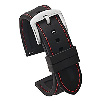 20mm Quick Release Silicone Watch Strap for Watches and Smartwatches Replacement Watch Band Black Red Stitching Silver Buckle