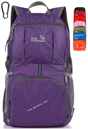 Outlander Packable Lightweight Travel Hiking Backpack Daypack (New Purple)