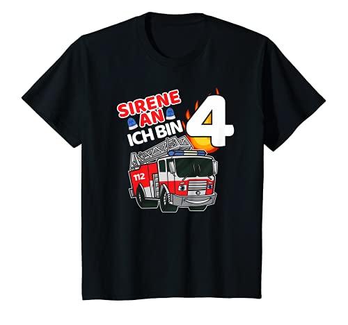 Kinder Feuerwehr Feuerwehrauto Feuerwehrmann 4. Geburtstag 4 Jahre T-Shirt