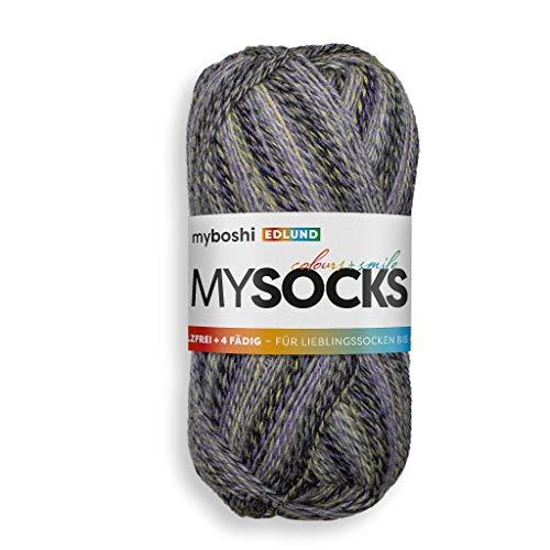 myboshi mysocks Edlund, Sockenwolle, 4-fädig, filzfrei, 75% Schurwolle, für Socken und Strümpfe, Ökotex-Zertifiziert, sehr strapazierfähig, Farbe Grau, Schwarz