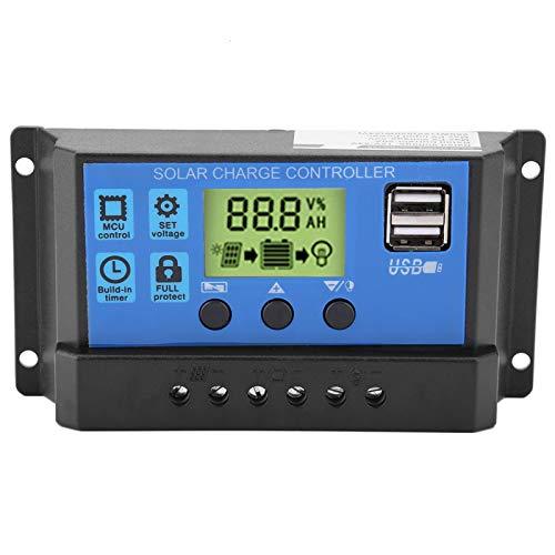 Controlador de carga del panel solar, Akozon Cargador solar Controlador inteligente Panel batería Regulador PWM 12V 24V Dual USB(30A)