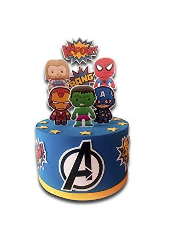 Tarta Falsa Cumpleaños, Avengers Los vengadores Marvel. Tarta Artificial Infantil Decoración de Niño. Carton y Goma eva, 25-27cm Diametro, Original y Divertido. Home3d