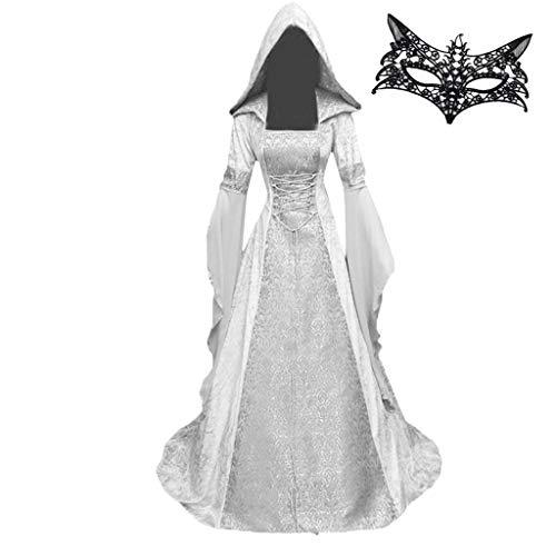 Zegeey Damen V-Ausschnitt Langarm Mittelalter Party Viktorianischen Königin Kleider Gothic Jahrgang Prinzessin Renaissance Bodenlänge Maxikleid für Brautjunfer Hochzeit Karneval Fasching Fasnacht