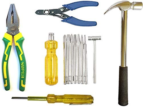 Inditrust hand tool kit combo of plier wire stripper screwdriver set hammer and current tester