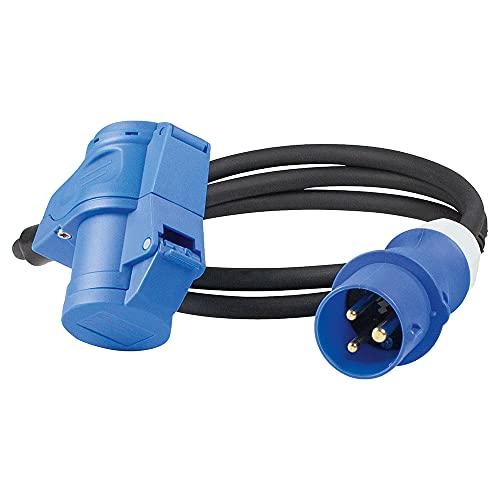 as - Schwabe CEE-Verlängerungsleitung Caravan 1,5 m, CEE-Stecker & CEE Winkelkupplung 230 V / 16 A / 3-polig, mit powerlight Spannungsanzeige, Made in Germany, Blau 61403