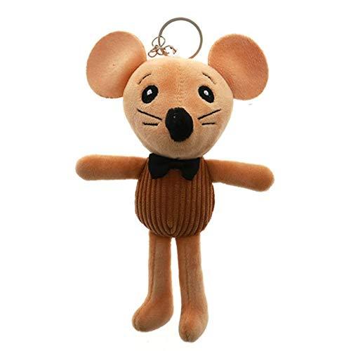 MZY1188 Plüsch Puppe Anhänger - Maus Schlüsselanhänger, vertikal gestreifte braune Maus Plüschtier Tasche Anhänger Schlüsselanhänger Figur Rucksack Anhänger Maskottchen Spielzeug