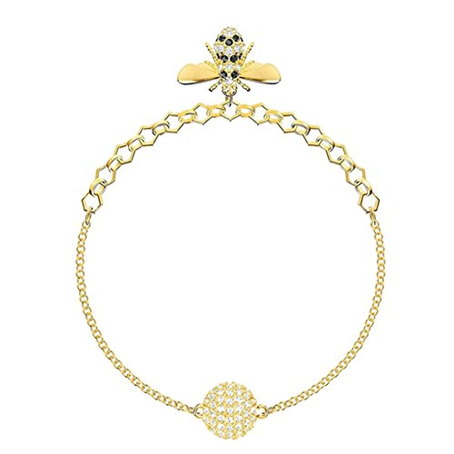 Fengteng Kristall Gold Farbe Biene Armband Strass Damen Bienenwabe Armkette Honig-Wabe Insekt Armreif Bienenstock Tier Armschmuck Liebe Geschenk