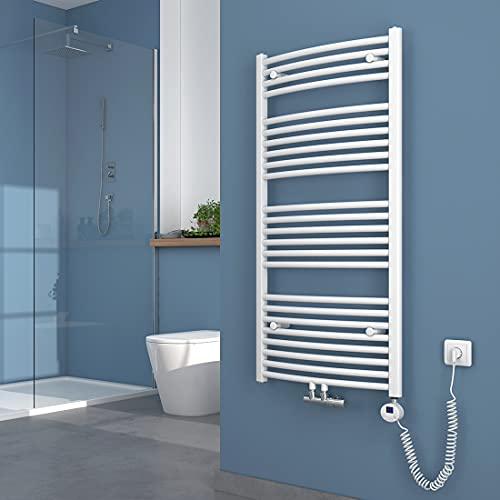 KOBEST Badheizkörper mit Thermostat 120 x 60 cm Elektrischer Handtuchtrockner Gebogener Handtuchwärmer, Energie von Strom oder Wasser, Mittelanschluss Weiß