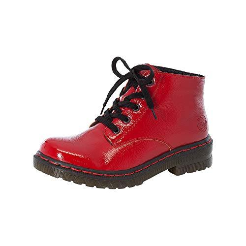 Rieker Damen Stiefeletten, Frauen Schnürstiefelette, Boot kurz-Stiefel schnür-Bootie übergangsschuh,Rot(Flamme),38 EU / 5 UK