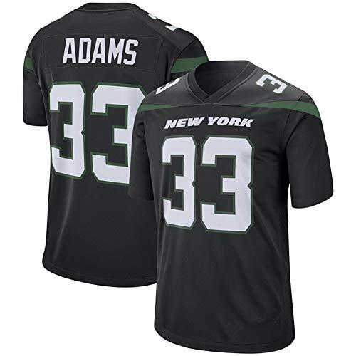 GAOLIE 33 # Adams Rugby Jersey para hombre, camiseta de fútbol americano con estampado de manga corta bordado, de secado rápido, para hombre adulto-negro-XL (185~190)