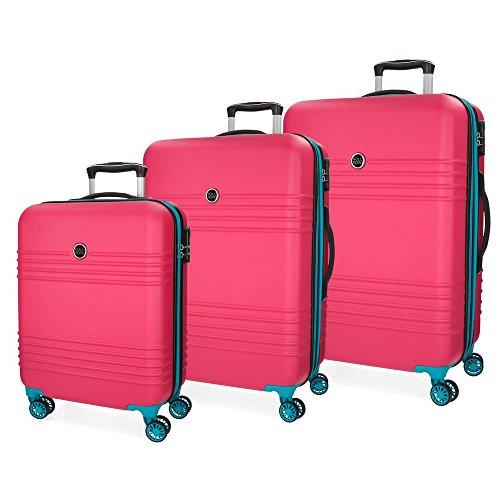Roll Road India Set 3 maletas, 79 cm, Fucsia