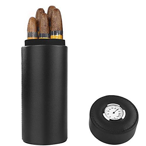 Caja de puros, madera de cedro forrado de cuero con humidificador de puros humidor portátil de viaje (Negro)