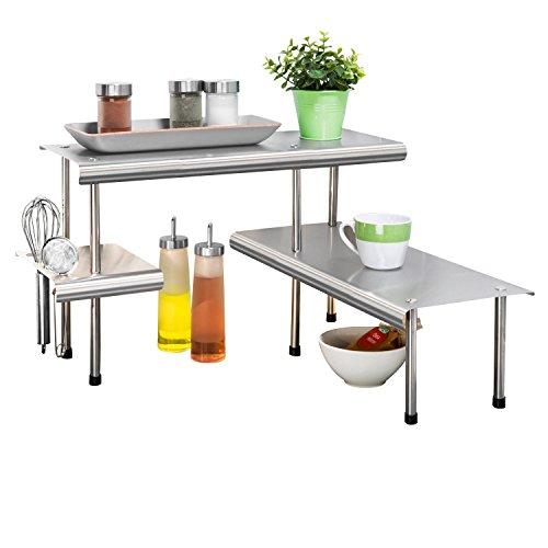 WENKO 2035030500 Küchen-Eckregal Massivo Trio mit 3 Ablagen, Edelstahl rostfrei, 50 x 31 x 50 cm, Silber