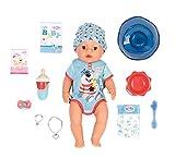 Baby Born Soft Touch Niño 43cm con Chupete Mágico-Muñeco Funciones Realistas-Suave al Tacto, Cuerpo Flexible-Come, Duerme, Llora y Usa la Bacinica-11 Accesorios-Azul, multicolor (Zapf Creation 827963)