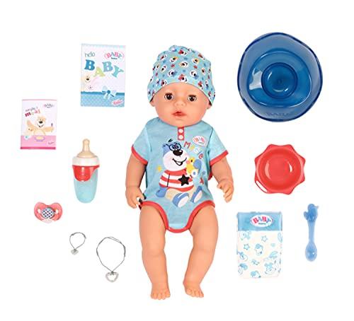 BABY born Soft Touch - Niño 43 cm con Chupete Mágico, Muñeco Realisto con Funciones Realistas, Suave al Tacto, Cuerpo Flexible, Come, Duerme, Llora y Usa la Bacinica, 11 Accesorios, Azul