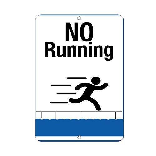 aqf527907 No Running Style 1 Aktivitätsschild Poolschilder Baby Pool Schilder Warnschild Lustige Metallschilder und Plakette für Haus Tor Dekor 20,3 x 30,5 cm