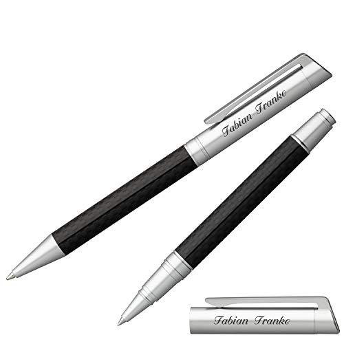Senator Schreibset Carbon Line Kugelschreiber Tintenroller mit Laser-Gravur und Geschenk-Etui
