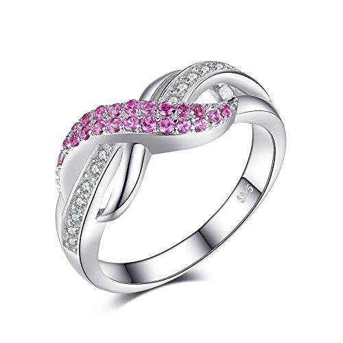 JewelryPalace Für immer Liebe Infinity Rosa Saphir Jahrestag Ring Vertrauensring Damen-Ring 925 Sterling Silber Größe 51 to 59