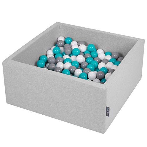 KiddyMoon 90X40cm/300 Balles ∅ 7Cm Carré Piscine À Balles pour Bébé Fabriqué en UE, Gris Clair: Gris/Blanc/Turquoise