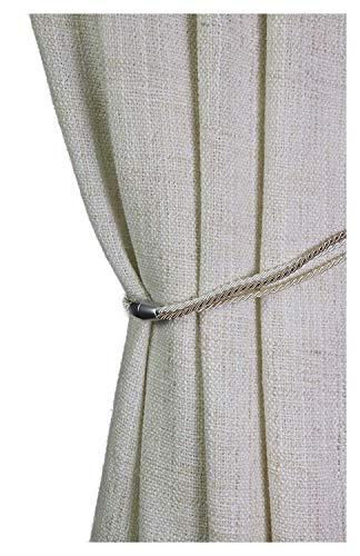 Gustav Gerster Raffhalter mit Magnet Gardinenhalter Vorhanghalter Gardinenschmuck Kordel Seidenoptik Spannweite 65 cm beige-Ecru