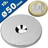 Neodym Magnet Öse Topfmagnet D 36mm mit Bohrung M6 Senkkopf 40 KG Extra Stark