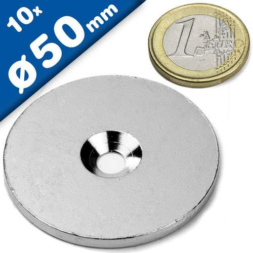 10 x Metallscheiben rund mit Loch (Senkbohrung) - Ø50mm x 5mm - aus Stahl (DC01) verzinkt - Metallplättchen rund mit Bohrung und Senkung (Senkbohrung) - Gegenstück/Haftgrund für Magnete, Menge: 10 Stück