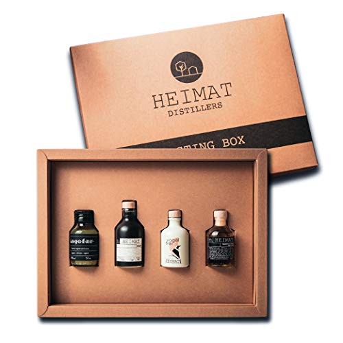 HEIMAT Gin Tasting Set Box (4 x 50ml) | Probierset mit Mini Dry Gin, Barrel Aged Gin, Vogelfrei (alkoholfrei), Ingefaer Ingwer Schnaps | Gin Geschenkset mit exklusivem Home-Tasting-Video