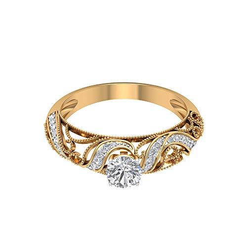 Anillo de compromiso de 0,67 ct, certificado SGL, con certificado de moissanita, oro de 14 K, sólido, grabado en oro de 14 K, anillos de novia, vintage, con filigrana, 14K Oro amarillo, Size:EU 47